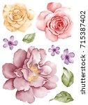 watercolor illustration bouquet ... | Shutterstock . vector #715387402
