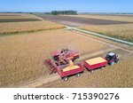 aerial image of soybean harvest.... | Shutterstock . vector #715390276