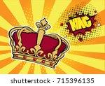 pop art background with crown... | Shutterstock . vector #715396135