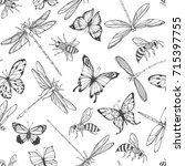flying insects. seamless... | Shutterstock .eps vector #715397755