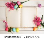 happy easter eggs card with an...   Shutterstock . vector #715404778
