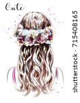 hand drawn long hair girl in... | Shutterstock .eps vector #715408165
