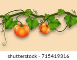 pumpkin whip with leaves and... | Shutterstock .eps vector #715419316