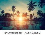 silhouettes of palm trees... | Shutterstock . vector #715422652