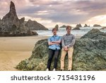 twin brothers posing at the... | Shutterstock . vector #715431196
