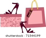 shopping bags with shoes | Shutterstock .eps vector #71544199