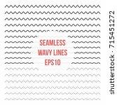 wavy lines set. horizontal... | Shutterstock .eps vector #715451272