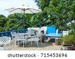 the outdoor patio of a... | Shutterstock . vector #715453696