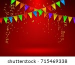 confetti and flag ribbons  red... | Shutterstock .eps vector #715469338