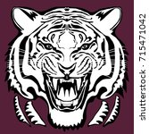 angry tiger head  hand drawn... | Shutterstock .eps vector #715471042