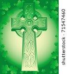 Green Celtic Cross On A Green...