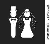 white silhouette bride and... | Shutterstock .eps vector #715480636