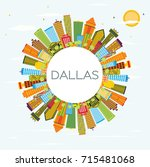 dallas skyline with color... | Shutterstock .eps vector #715481068