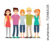 group of friends  enjoying life | Shutterstock .eps vector #715483135
