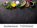 herbs  condiments and spices on ... | Shutterstock . vector #715510162