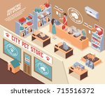 Stock vector colored isometric d pet shop composition with city pet store and visitors vector illustration 715516372