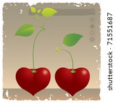 two cherries on sepia background | Shutterstock .eps vector #71551687