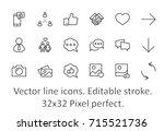 set of social networks related... | Shutterstock .eps vector #715521736