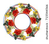 vintage floral wreath with cute ... | Shutterstock .eps vector #715544566