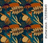 autumn seamless pattern design. ... | Shutterstock .eps vector #715558645