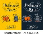halloween party  hand drawn... | Shutterstock .eps vector #715561615