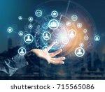 view of a international network ... | Shutterstock . vector #715565086
