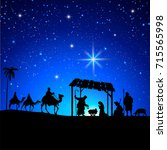 high detail vector nativity... | Shutterstock .eps vector #715565998