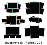 photo frames collage set on... | Shutterstock .eps vector #715567225