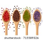 spices in the spoons isolated... | Shutterstock .eps vector #715589326