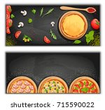 pizza menu chalkboard cartoon... | Shutterstock .eps vector #715590022