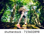 close up of female hiker feet... | Shutterstock . vector #715602898