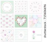 romantic design elements set.... | Shutterstock .eps vector #715606696