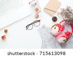 top view of christmas and... | Shutterstock . vector #715613098