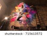 a boy as he listens the music...   Shutterstock . vector #715613572