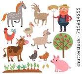 farm. set of vector characters. ... | Shutterstock .eps vector #715614355