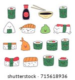 kawaii sushi food | Shutterstock .eps vector #715618936