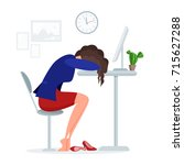woman get tired sleeping at... | Shutterstock .eps vector #715627288
