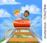 cartoon boys riding on a roller ... | Shutterstock .eps vector #715627846