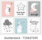 little bear  rabbit  moon and... | Shutterstock .eps vector #715637245