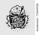 hand drawn typography halloween ... | Shutterstock .eps vector #715645528