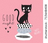 cute black cat siting on top of ... | Shutterstock .eps vector #715648408