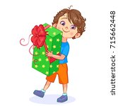 funny cartoon boy with a big...   Shutterstock .eps vector #715662448