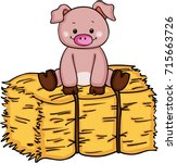 little pig up on bale of hay | Shutterstock .eps vector #715663726