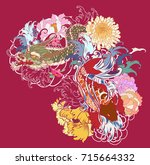 hand drawn dragon and koi fish... | Shutterstock .eps vector #715664332