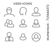 standard user icon set with men ...