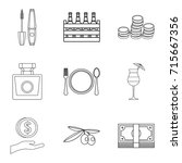 expensive pleasure icons set.... | Shutterstock .eps vector #715667356