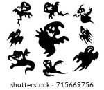 black halloween ghost around... | Shutterstock .eps vector #715669756