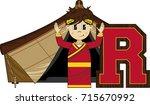 r is for roman   cute cartoon... | Shutterstock .eps vector #715670992