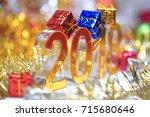 golden 2018 3d digital icon... | Shutterstock . vector #715680646