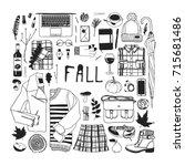 hand drawn fall fashion... | Shutterstock .eps vector #715681486
